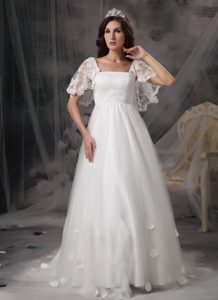 Long Square Outdoor Wedding Dress in Lace and Tulle with Cap Sleeves