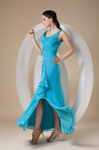 Romantic Teal Ankle-length Slit Dresses for Bridesmaid with Straps
