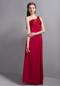Wine Red One Shoulder Fashionable Bridemaid Dresses for Church Wedding