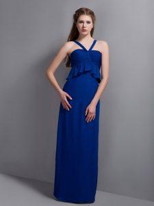 Peacock Blue V-neck Chiffon Gorgeous Long Bridesmaid Dresses under 150