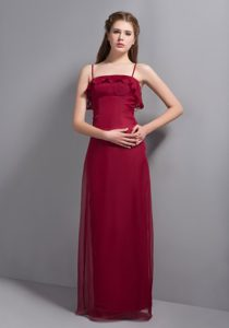 Memorable Wine Red Spaghetti Chiffon Dress for Bridesmaid in Floor-length