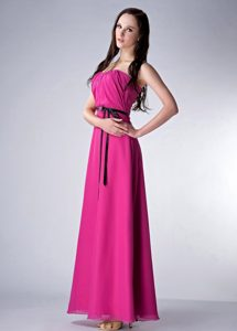 Fuchsia Luxurious Zipper-up Bridemaid Dress for Church Wedding with Sash