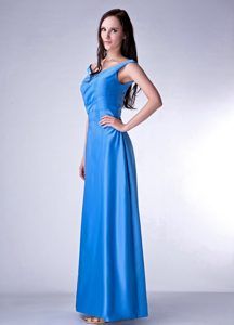Attractive V-neck Lace-up Ankle-length Junior Bridesmaid Dress in Sky Blue