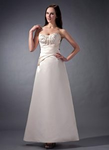 Romantic Strapless White Ankle-length Zipper-up Dresses for Bridesmaid
