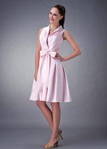 Beautiful Princess V-neck Satin Short Junior Bridesmaid Dress in Baby Pink