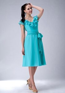 Gorgeous A-line V-neck Tea-length Bridesmaid Dress in Turquoise with Sash