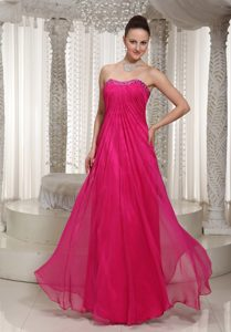 Strapless Chiffon Memorable Hot Pink Dresses for Bridesmaid with Beading