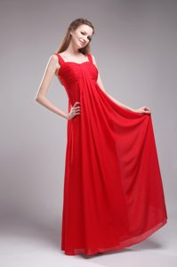 Popular Long Chiffon Bridemaid Dress for Church Wedding with Straps