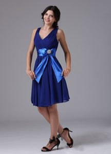 Peacock Blue Bowknot Luxurious Short Bridemaid Dress for Church Wedding