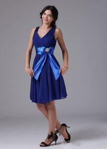 Peacock Blue Bowknot Luxurious Short Bridemaid Dress for Church Wedding