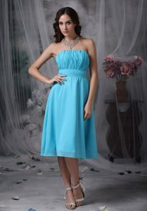 Impressive Aqua Blue Ruched Summer Bridemaid Dress for Summer Wedding