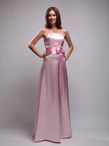 Attractive Beaded Long Junior Bridesmaid Dress in Baby Pink