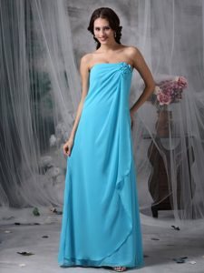 Romantic Zipper-up Chiffon Dresses for Bridesmaid in Baby Blue with Flowers