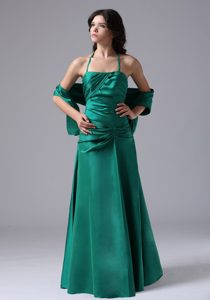 Halter Top Ruched Beautiful Long Junior Bridesmaid Dress in Dark Green