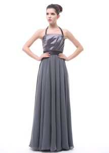 Classical Grey Halter Top and Chiffon Maid of Honor Dress with Belt