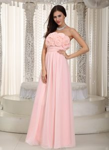 2012 Gorgeous Zipper-up Chiffon Bridesmaid Dress in Baby Pink with Flowers