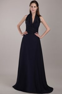 Memorable Halter Top Ruched Navy Blue Long Dress for Bridesmaid