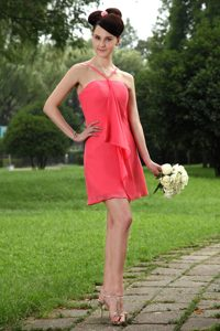 Popular Coral Red Zipper-up Chiffon Bridemaid Dresses for Church Wedding