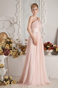 Baby Pink Ruched Flowers Luxurious Bridemaid Dress for Church Wedding