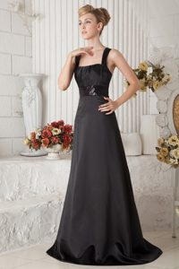 Impressive Black Satin Bridemaid Dresses for Summer Wedding with Straps