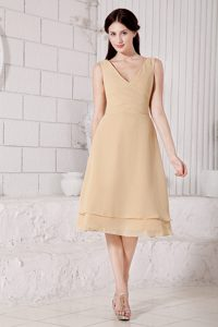 Attractive Princess V-neck Tea-length Junior Bridesmaid Dress in Champagne
