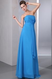 Strapless Zipper-up Blue Chiffon Charming Bridesmaid Dresses with Ruches
