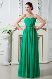 Romantic Sweetheart Ruched Green Dresses for Bridesmaid in Floor-length