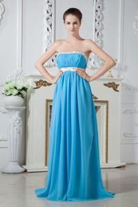 Ruched and Beaded Aqua Fashionable Bridemaid Dress for Church Wedding
