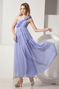 Beautiful One Shoulder Ankle-length Junior Bridesmaid Dress with Flowers