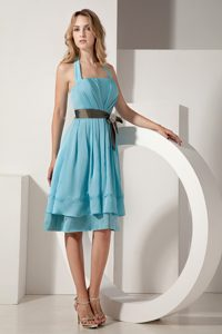 Classical Halter Top Ruched Maid of Honor Dresses in Aqua Blue