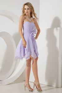 Sweetheart Lilac Chiffon Gorgeous Bridesmaid Dresses with Bowknot for Fall