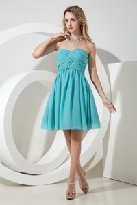Turquoise A-line Exquisite Ruched Bridemaid Dresses for Summer Wedding