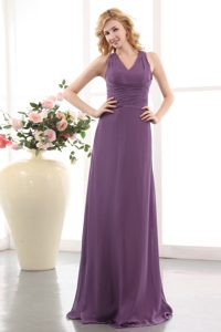 V-neck Chiffon Ruched Wonderful Maid of Honor Dress with Zipper-up Back