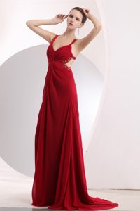 Sweet Wine Red Brush Train Chiffon Dresses for Bridesmaid with Ruches