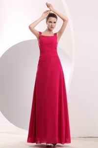 Empire Hot Pink Straps Long Chiffon Bridesmaid Dress with Beading