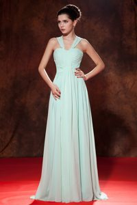Empire Apple Green Straps Chiffon Ruched Long Bridesmaid Dress