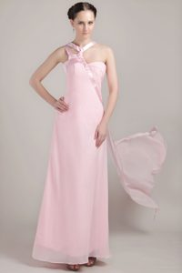 Empire Asymmetrical Ankle-length Chiffon Bridesmaid Dress in Baby Pink
