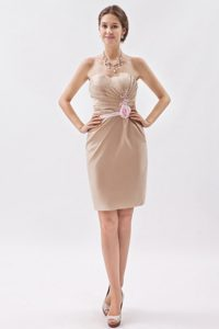 Champagne Sweetheart Mini-length Satin Bridesmaid Dress with Appliques