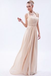 Empire Halter Long Chiffon Ruched Bridesmaid Dress in Champagne