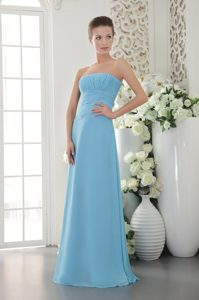 Empire Strapless Long Chiffon Ruched Bridesmaid Dress in Light Blue