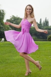 Lavender A-Line One Shoulder Knee-length Chiffon Ruched Bridesmaid Dress
