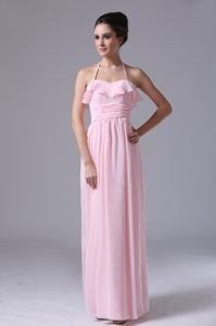 Halter Pink Long 2013 Chiffon Bridemaid Dress With Ruching