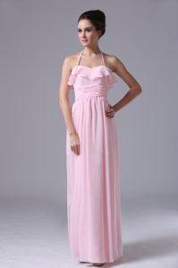 Halter Pink Long 2013 Chiffon Bridemaid Dress With Ruching