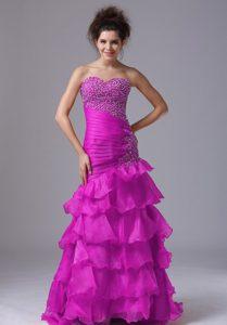 Impressive Mermaid Fuchsia Zipper-up Prom Homecoming Dress with Beading