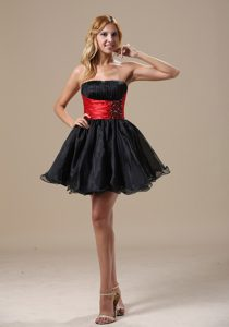 A-line Black and Red Organza and Romantic Prom Evening Dresses