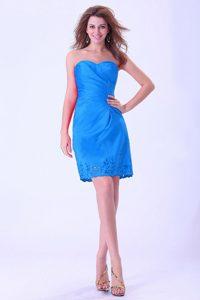 Exquisite Aqua Blue Sweetheart Mini-length Dress for Prom Princess