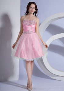 Fashionable Baby Pink and Organza Prom Dress for Girls with Beading
