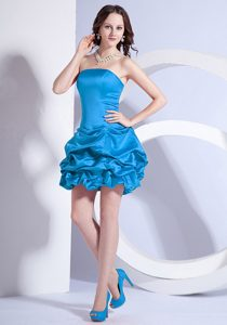 Best Seller Teal Strapless Zipper-up Mini-length Dress for Prom with Pick-ups