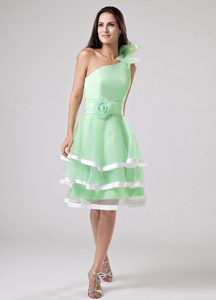 Apple Green Ruffled One Shoulder Classical Prom Court Dresses with Sash