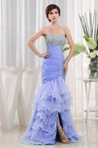 Popular Sweetheart Lace-up Beaded and Ruffled Prom Party Dresses in Lilac